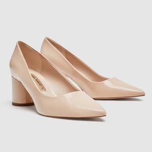 Zara Faux Patent Leather Block Heels
